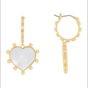 NWT Tory Burch heart mother pearl earrings